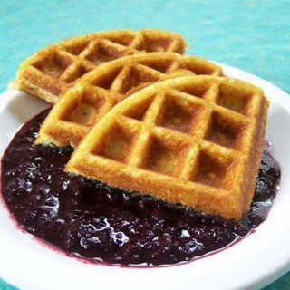 Grain-free Waffles with Blueberry Compote