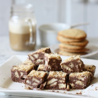 Chocolate slice with arrowroot biscuits