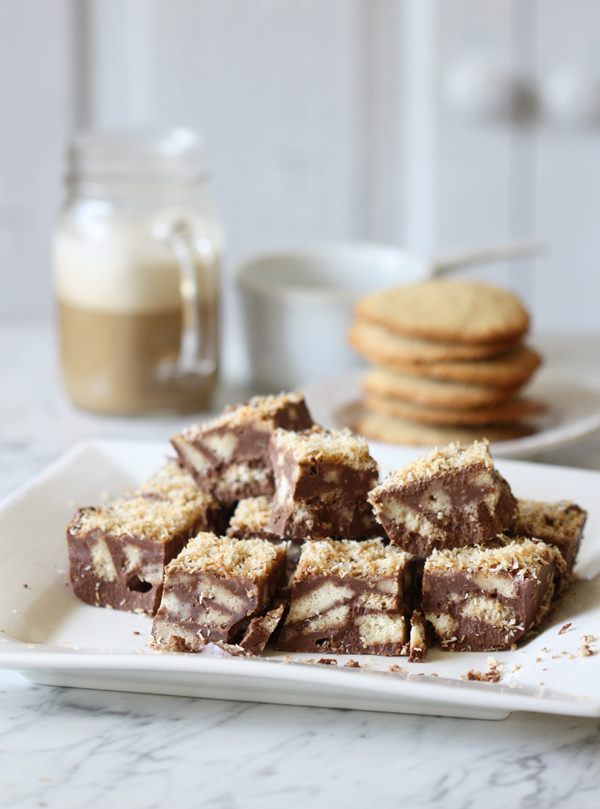 Chocolate Slice With Arrowroot Biscuits The Spunky Coconut